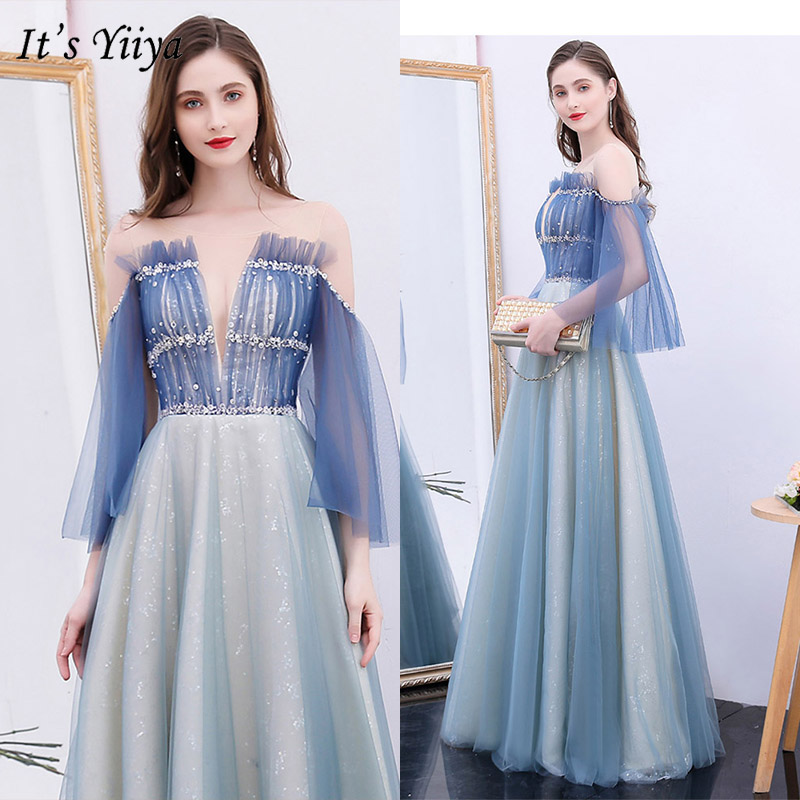 It's Yiiya Evening Dress 2019 Plus Size Three Quarter Sleeve Boat Neck Party Formal Gown Sequnis Elegant A-Line Long Dress E1042