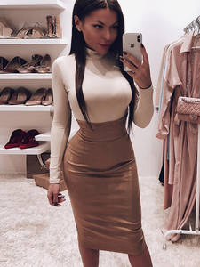 Dulzura Party-Clothes Bandage Pencil Long-Skirt Slit Suede Midi Office Elegant Sexy High-Waist