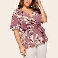 Повседневная V образным вырезом с коротким блузка для женщин с коротким рукавом женская футболка с коротким рукавом и блузки размера плюс с ...