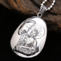 Real Pure Silver S990 Silver Fashion Retro Fine Jewelry Hannya shingyo Buddha Necklace Pendant Chain Charms Freeshipping (FGL)