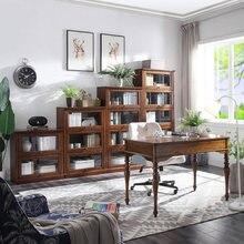Bibliothèque en bois avec porte vitrée WA692, Bibliothèque en bois
