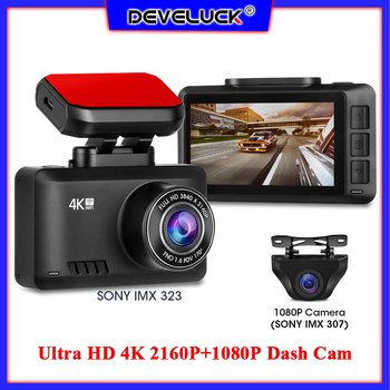 Ultra HD 4K 2160P+1080P Dash Cam Car Camera Recorder DVR Dash Camera 4G WIFI GPS Night Vision 24H Parking Monitor Looping Record image