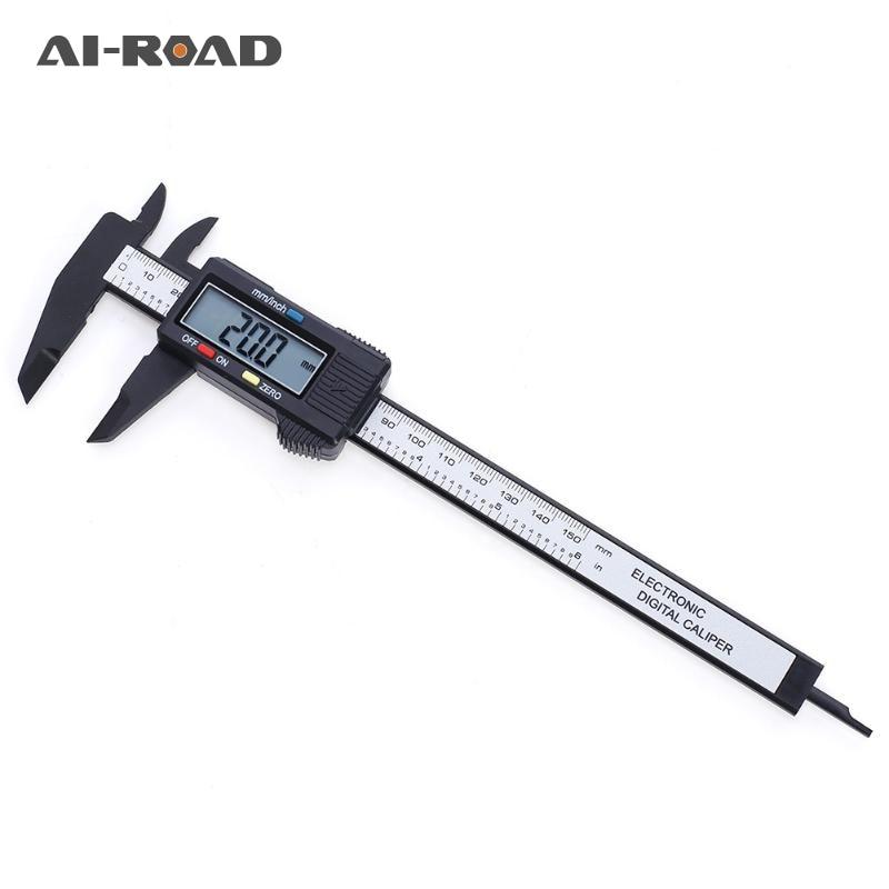 0-150mm 6 Inch Electronic Digital Vernier Caliper Carbon Fiber Vernier Caliper Gauge LCD Carbon Fiber Measuring Tool