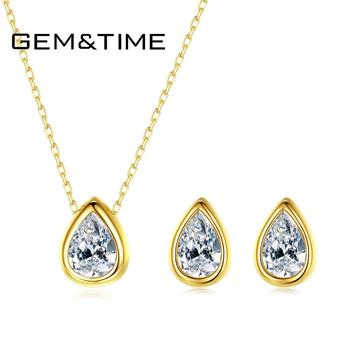 Gem&Time Water Drop Cubic Zirconia Earrings Necklace Set Real 925 Sterling Silver Jewelry Set For Women 18K Gold Wedding Jewelry cwwzircons long water drop cubic zirconia stone big vintage royal wedding necklace and earring jewelry set for brides t205
