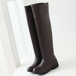Image 3 - Botas de neve de inverno mulheres moda joelho alto botas para mulheres casual plataforma de salto baixo senhoras sapatos longos calçados de inverno senhora