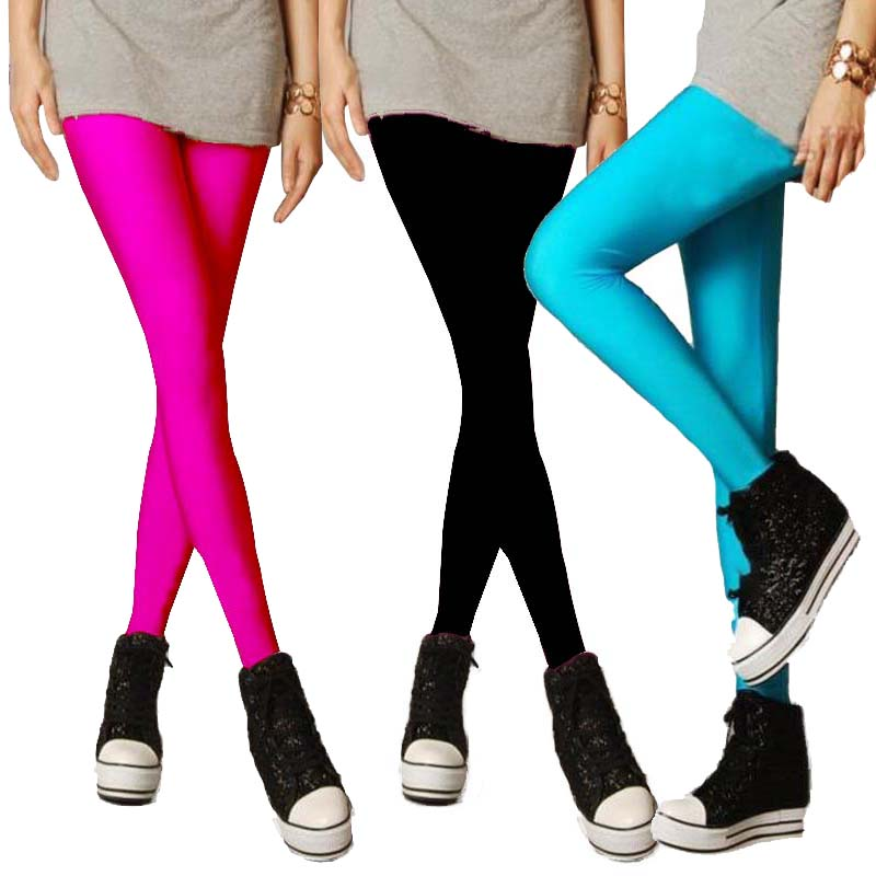 High Waisted Footless Pants Disco Candy Colors Cute Shiny WomensCandy-colored Fluorescent Leggings Casual Solid Ankle-Length