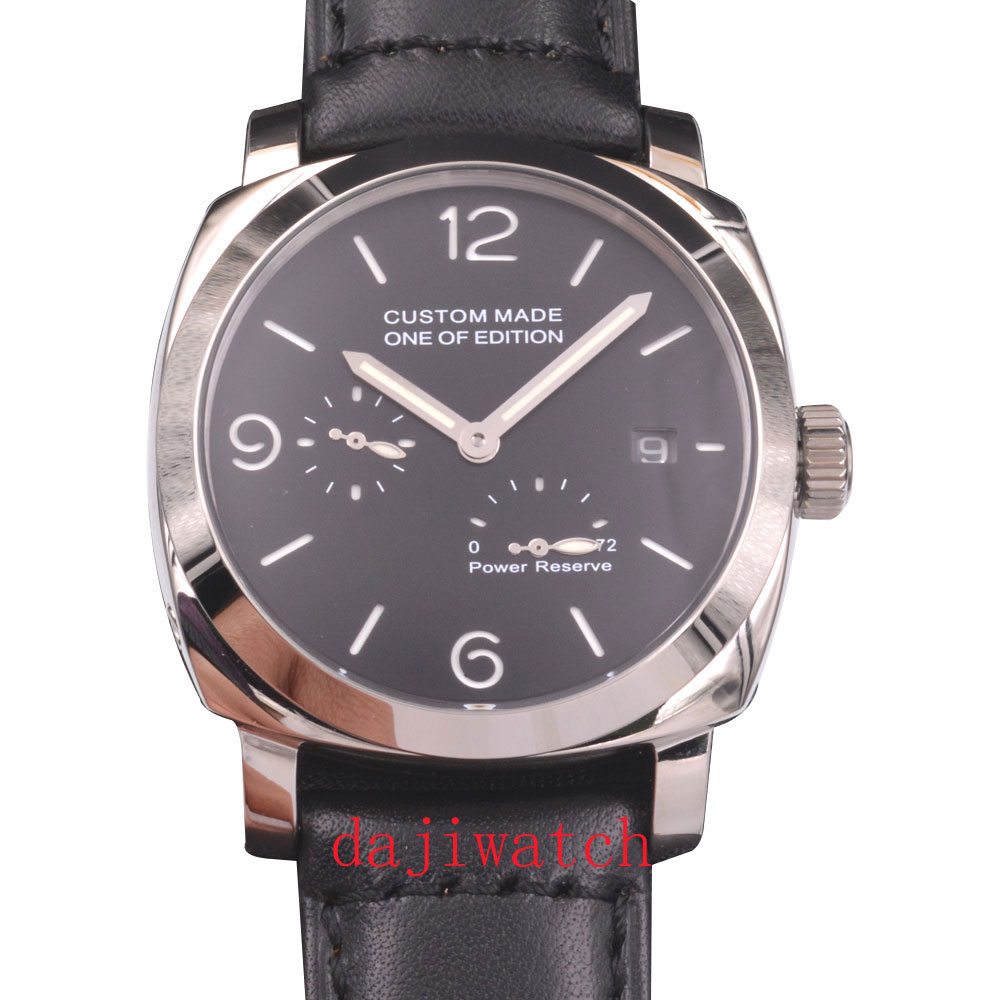 44mm parnis black watch male luminous sandwich dial <font><b>ST2530</b></font> automatic mechanical watch calendar display image