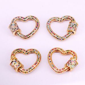 Image 2 - 3PCS, Gold Color Rainbow CZ Micro Pave Heart Clasps, DIY Jewelry Clasps, Lock Carabiner, For Jewelry Making