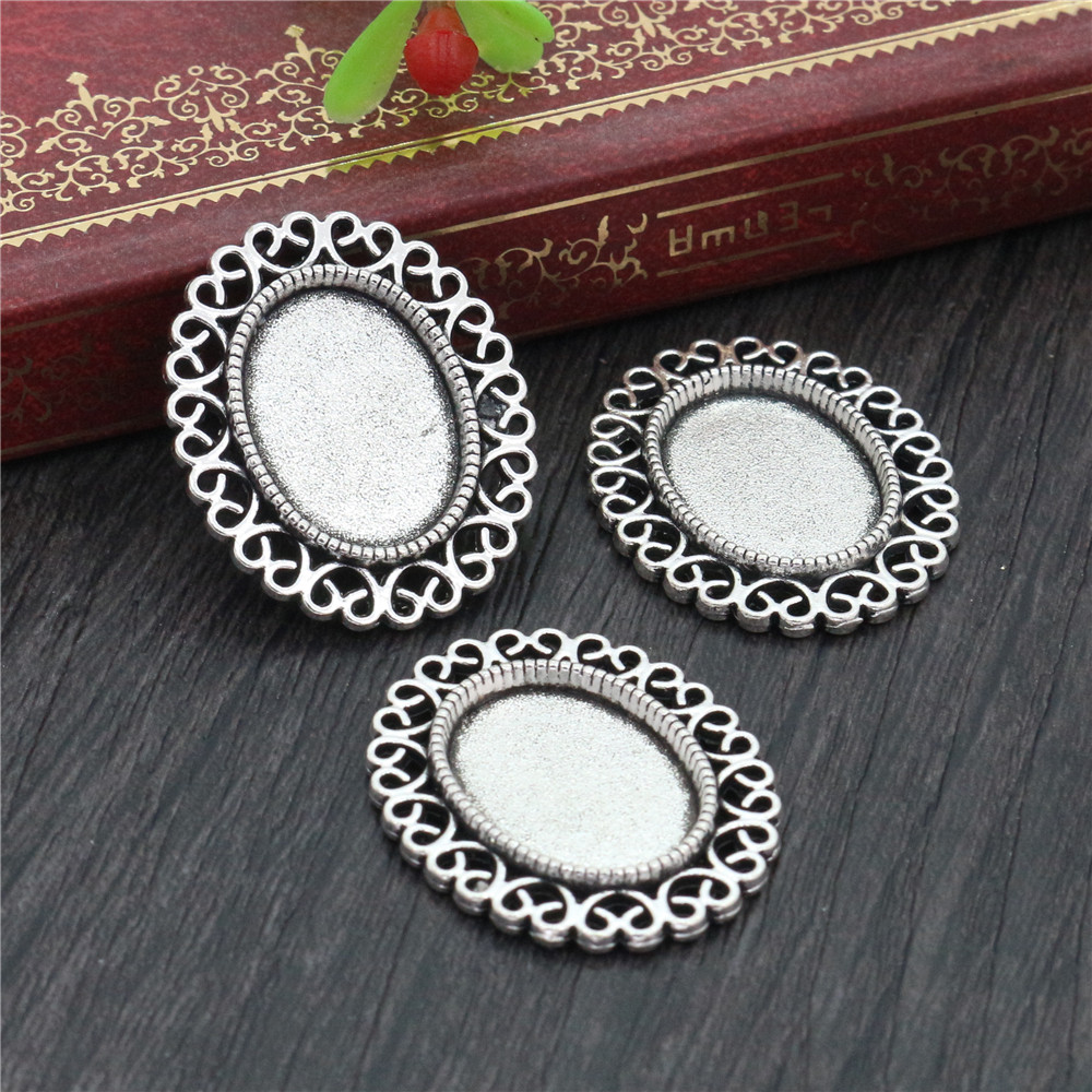 6pcs 13x18mm Inner Size Antique Silver Plated Simple Style Cameo Cabochon Base Setting Charms Pendant Necklace Findings (D4-33)