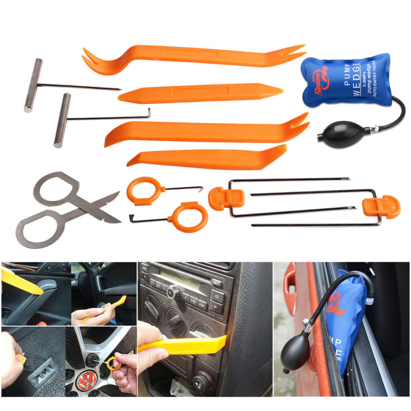PDR 13pc Car Panel Removal Open Pry Tools Kit Dash Door Radio Trim  Pump Wedge Car Radio Panel Door Clip Panel Trim Car Repair