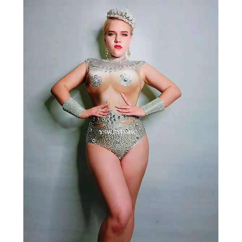 Сверкающие кристаллы телесного цвета боди стрейч костюм Стразы праздновать женский певица танцор