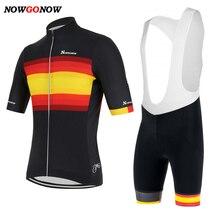 NOWGONOW Велоспорт Джерси Испанский флаг мужские летние черные, красные, желтые Велосипед Одежда mtb Дорога гоночная одежда комплект гелевый коврик