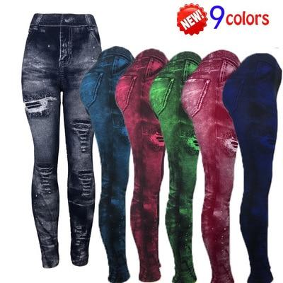 Plus Size Leggings For Women Faux Jeans Bodycon Stretch Capris Leggin High Waist Pants