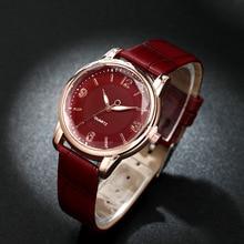 Модные Женские Часы Каменный Угол Зеркало Двойной Круг Циферблат Кварцевый Женщины Часы Световой Кожаный Ремешок Часы Relojes Де Mujer