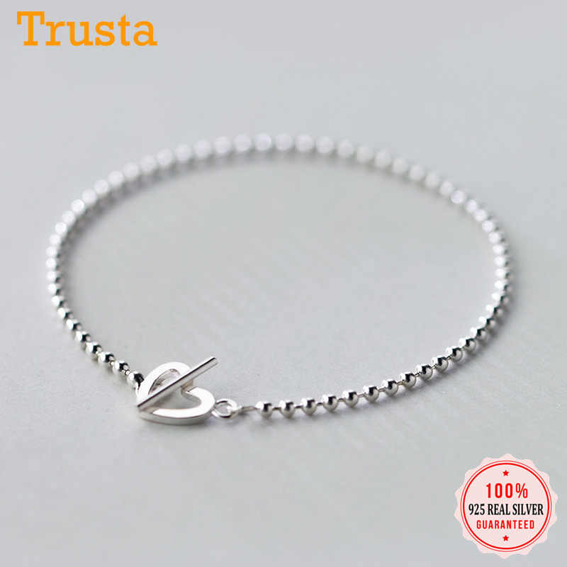 Trusta 100% 925 Solid Real Sterling Silver Fashion Beads Heart Star Bracelet 16cm For Teen Girls Lady Gift Women Jewelry DS1014