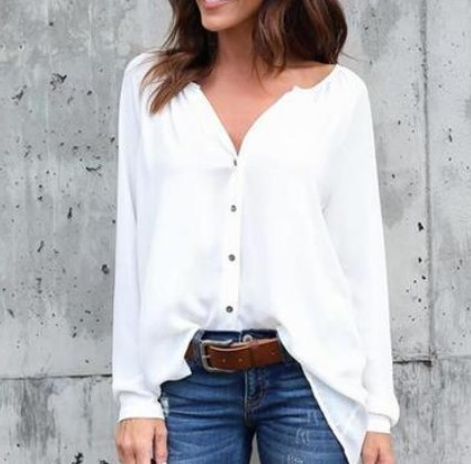 WENYUJH Autumn   Blouse   Women Tops Fashion Casual Long Sleeved Loose Zipper Deep V Neck   Shirt   Bluzki Damskie Blusas Mujer De Moda