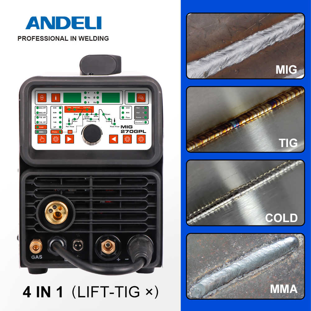 ANDELI MIG/TIG Pulse/MMA/เย็นเชื่อมMultifunctionalเครื่องเชื่อมสแตนเลสอัจฉริยะ 4 In 1 Multifunctionalเชื่อมเครื่อง
