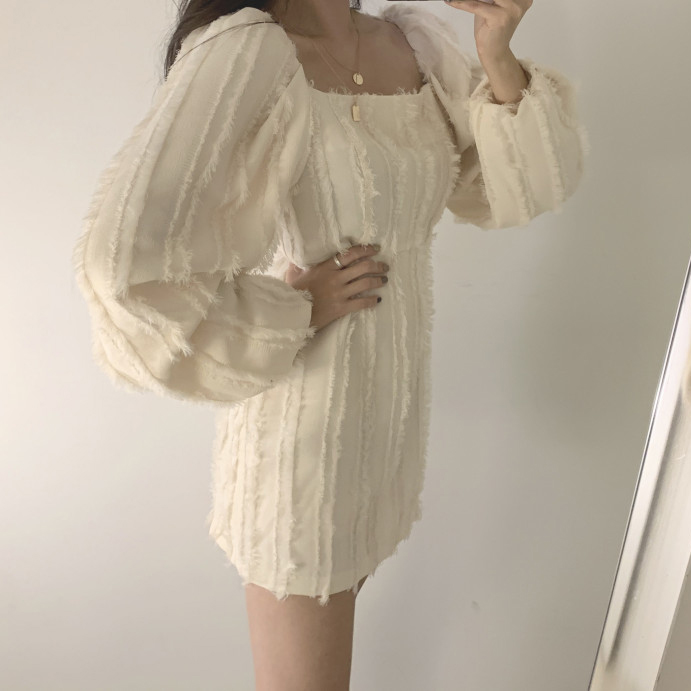 Hdeca1453fc224b789a5dc2ebdf796ecef - Autumn Square Collar Puff Sleeves Tassel Solid Mini Dress