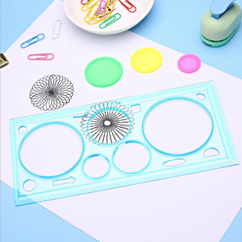 1pack/lot  Kids' Puzzle Colorful Drawing Ruler Set Drawing-tool Spirograph DIY Creative Pattern Tools Stationery