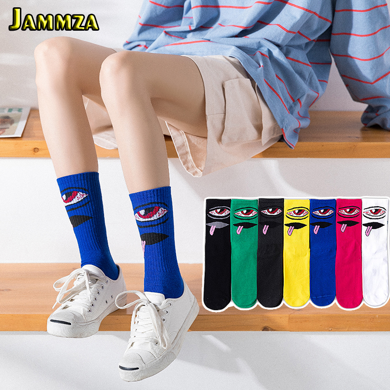 Luxury Brand Fashion Casual Cotton Women Socks Harajuku Expression Black Lady's Meias For Hiphop Skateboard Streetwear Men Socks