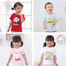 Baby short sleeve cotton round neck T-shirt boys and girls summer thin baby wear summer wear new half sleeve clothes