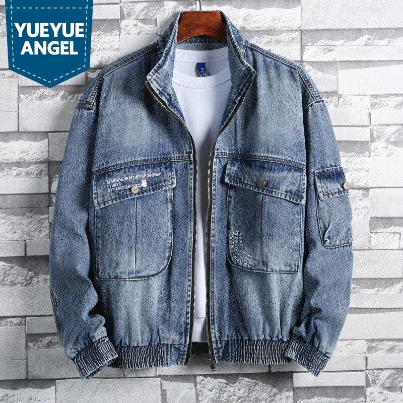 High Street Men Denim Coat Casual Pocket Zipper Loose Fit Outerwear Work Jacket College Blue Black Cowboy Jacket Plus Size