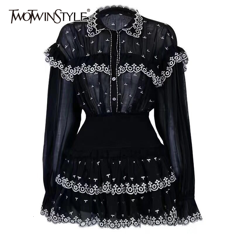 TWOTWINSTYLE Embroidery Ruffle Patchwork Two Piece Sets Women Perspective Flare Sleeve Shirts High Waist Mini Skirts Female 2019