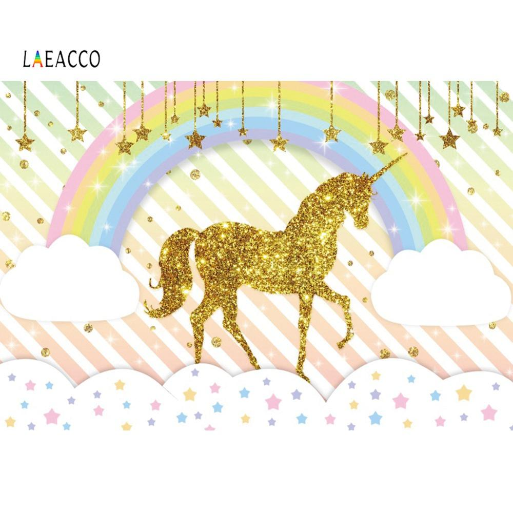 Laeacco Rainbow Gold Unicorn Birthday Party Star Stripes Poster Portrait Photo Backgrounds Photocall Photography Backdrops