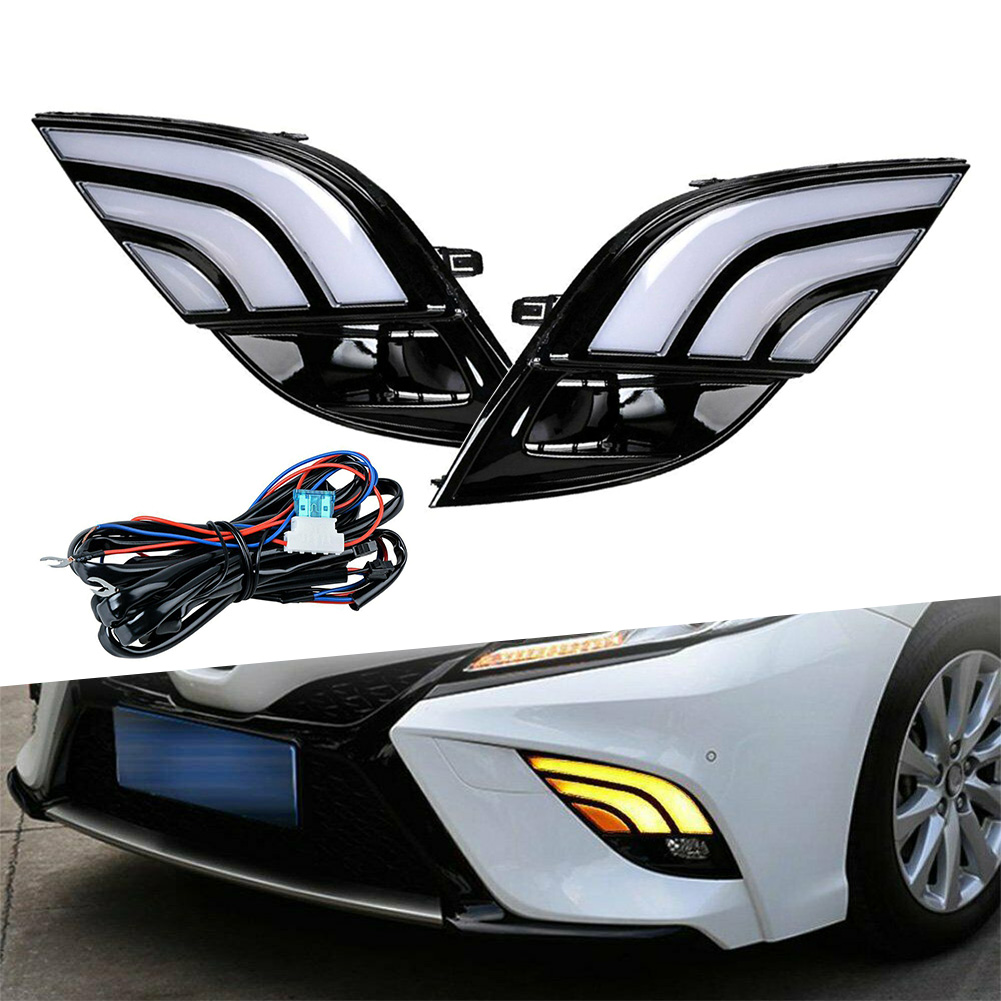 1Pair Car Daytime Running DRL Fog Lights w/ Module Harness for 2018 2019 2020 Toyota Camry SE XSE