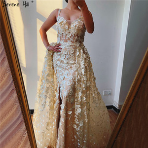 Image 4 - 2020 Pink Sleeveless Handmade Flowers Evening Dresses Crystal Sexy Luxury Tulle Evening Gowns Real Photo LA60717