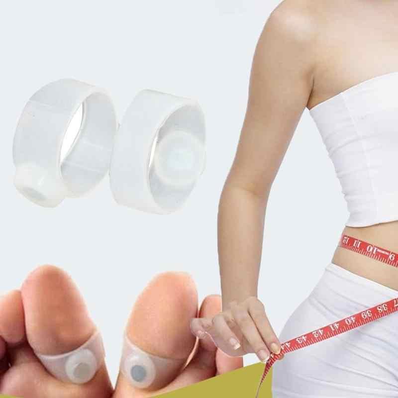 Magnes silikonowy podwójny pierścień na palec u stopy korektor schudnąć szczupła stopa tworzywa sztuczne i magnesy praktyczny trwały masażer 1 para