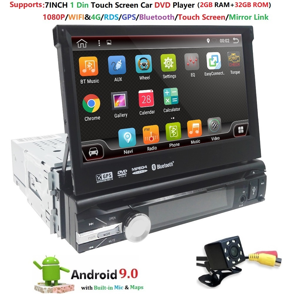1din Car Radio 7 inch Touch mirrorlink Android 9 Player subwoofer MP5 Player Autoradio Bluetooth Rear View Camera tape recorder image