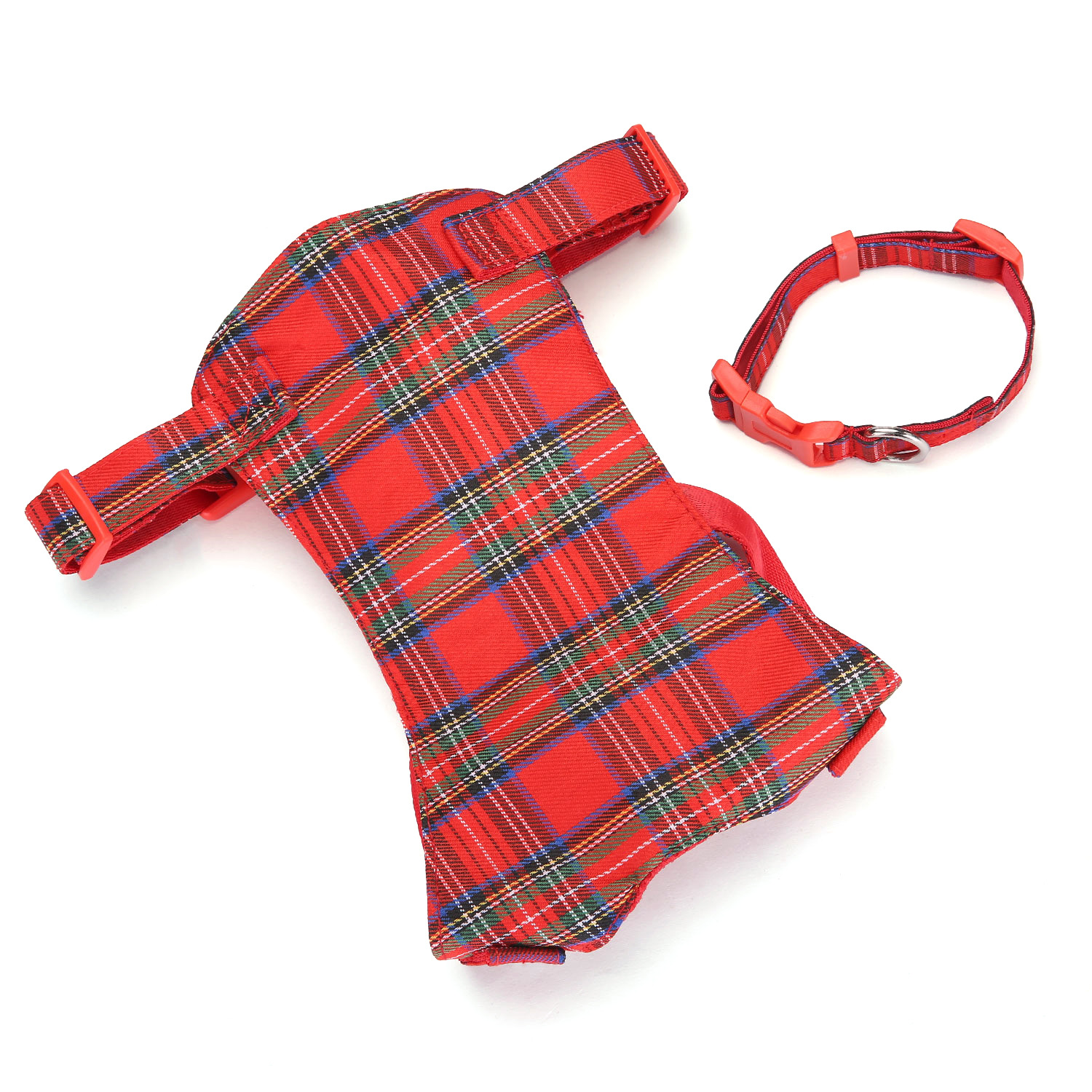Hot Sales Classic Plaid Pet's Chest-back Distraction Neck Ring Set Adjustable Dog Chest And Back Pet Supplies