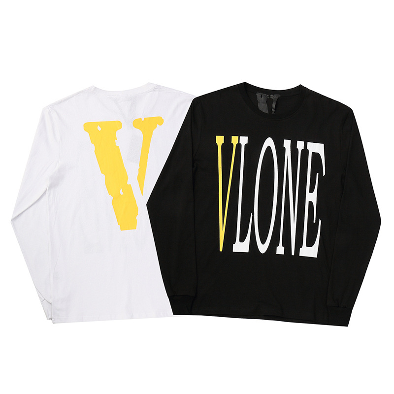 European And American Streets Popular Brand Vlone Large V Printed Crew Neck Men And Women Hoodie Long Sleeve Loose-Fit Hip Hop