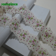 2~5~10Yds/lot White Wavy Style Pink Hollow Round Floral Venise Lace Trim with Design for Wedding Bridal,Garment Decoration