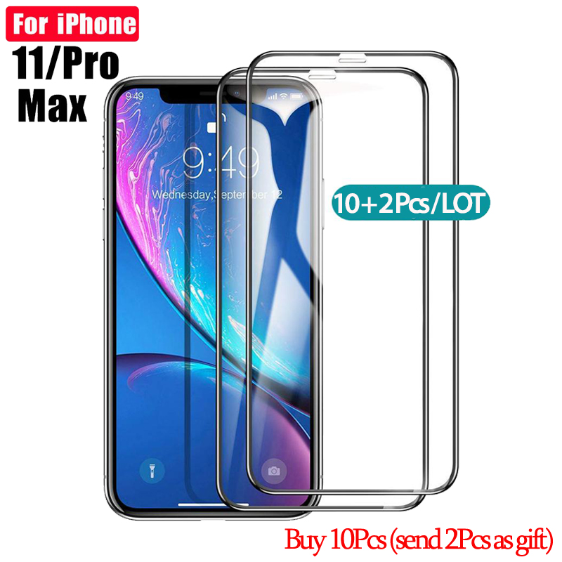 10+2Pcs Tempered Glass For apple iphone 11pro Screen Protector For iphone 6 s 7 8 plus 10 XR XsMAX 11 promax 100D Glass Película