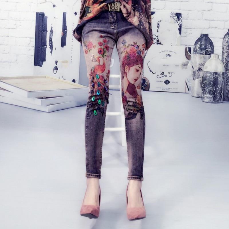 Boyfriend 3D Printing Sequin Hole Jeans For Women Jeans Woman Elastic Stretch Jeans Female Skinny Pencil Denim Pants Plus Size