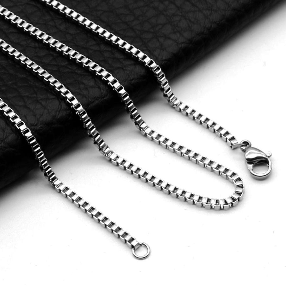 Skrzynka ze stali nierdzewnej naszyjnik łańcuch DIY ocena biżuteria Making mężczyźni kobiety hurtownie Link łańcuszki dodatki 1.5mm 2mm 2.5mm 3mm