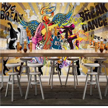 Custom 3D/5D/8D wallpaper mural hip-hop hip-hop street graffiti personality music bar dance background interior decoration custom 3d mural 3d stereo personality ktv bar background wall mural wallpaper graffiti music symbol mural for ktv bar