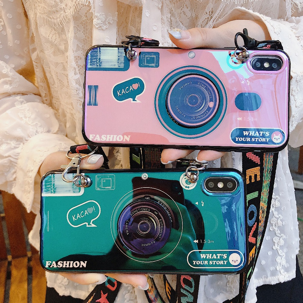 Luxury Blu-ray camera Cases+Holder+Strap Phone Case For Huawei P10 P20 P30 Plus Mate20 Mate20Pro NOVA5 Phone Stand IMD Coque image