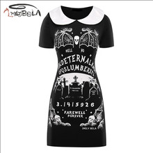 Imily Bela Gothic Casual Mini Dress Women Devil Print Peter Pan Collar Short Sleeve Dresses Summer Above Knee Black Vestidos(China)