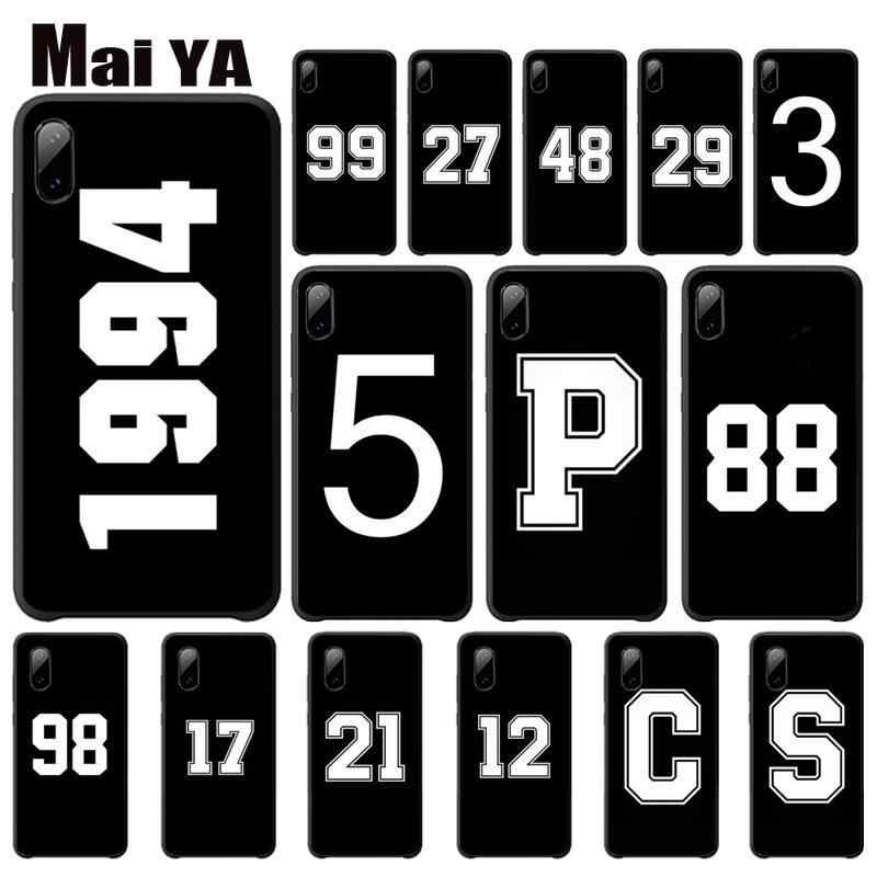 Maiya Black Letter And Number Cover Iphone 5 용 고급 케이스 s 6 6s 7 8 Plus X Xs Max Xr 11 Pro Max 전화 액세서리