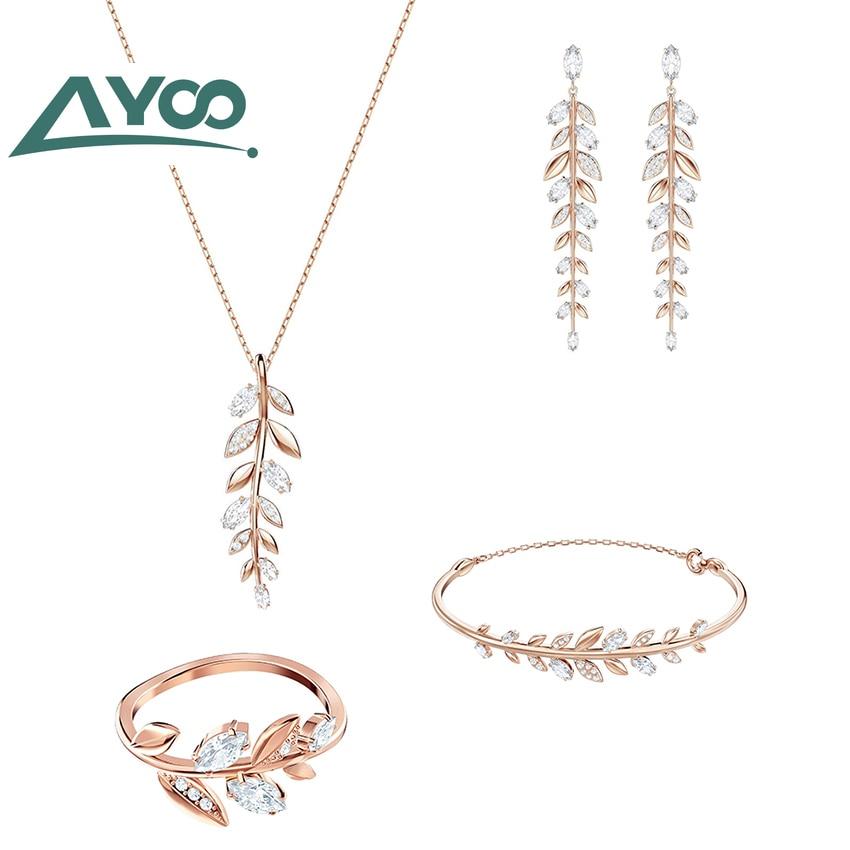 AYOO High Quality 1:1 Fashion Exquisite Mayfly Leaf Necklace Bracelet Set Original Girlfriend Romantic Birthday Gift Set
