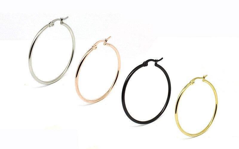 Нержавеющая сталь 20-100 мм большие и маленькие круглые женские серьги в виде колец, золотистый и черный серьги-кольца петли уха гладкой кольц...