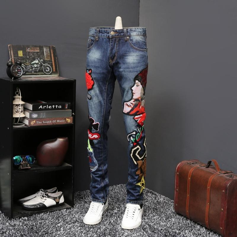 2019 Wind Personality Beauty Embroidered Jeans Male Embroidery Flocking Self-cultivation Directly Canister Long Pant Jeans Homme