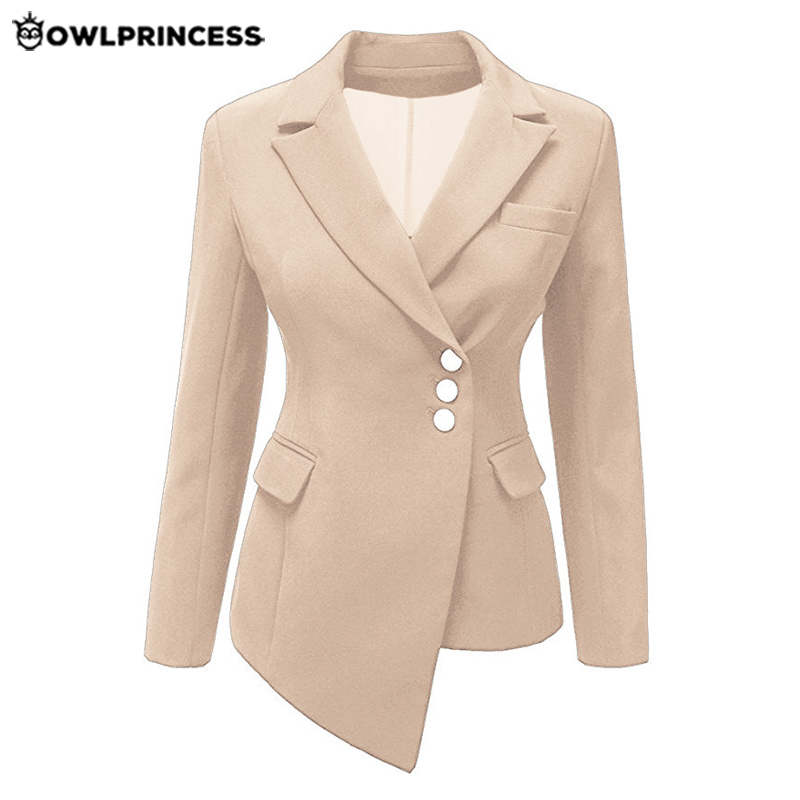 Daily Suit OWLPRINCESS Plus Size  Business Blazer Black Blazer Mujer Irregular Ladies  Blazer Slim Short Suit Coat Blazer