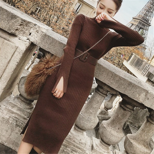 Image 2 - Bodycon סוודר שמלת נשים חורף סוודרים סרוגים ארוך שמלות קוריאני אישה פיצול קפלים שמלות חגורה חורף OL שמלת Vestido