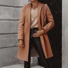 CYSINCOS moda jesień długi płaszcz kobiety skręcić w dół kołnierz jednolity płaszcz Casual Lady Slim eleganckie mieszanki odzież wierzchnia 2020 tanie tanio Poliester CN (pochodzenie) Wiosna jesień REGULAR women jacket Osób w wieku 18-35 lat Pojedyncze piersi Pełna Wełna mieszanki