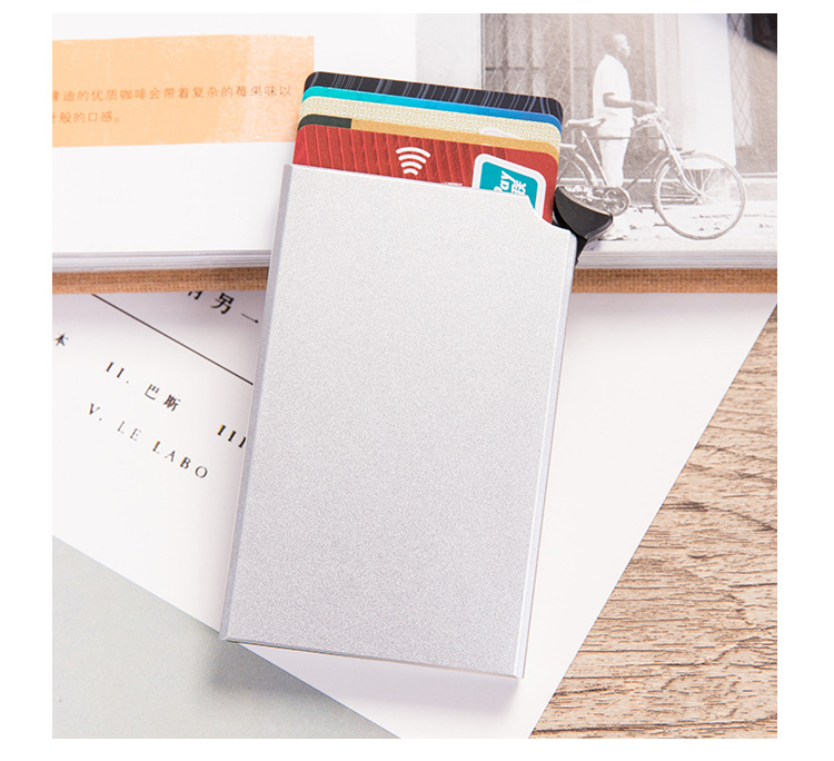 Hdecc5fe4d9d44cd08cdde283b746620e9 - RFID Anti-theft Smart Wallet Thin ID Card Holder Unisex Automatically Solid Metal Bank Credit Card Holder Business Mini