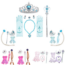 Princess Accessories Anna Elza Accessories Set Snow Queen Magic Wand Crown Necklace Princess Gloves Kids Girl Party Accessories